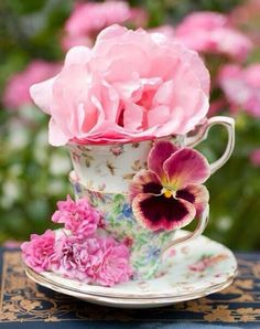 Love this...tea cup and flowers!