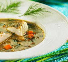 zupa grzybowa z pieczonym sandaczem
