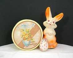 9 Paper Mache Easter Bunny White & Neon by AtticDustAntiques