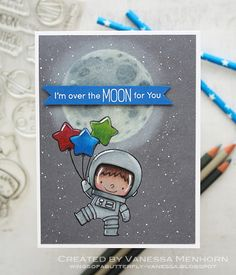 Handmade card - My Favorite Things Space Explorer Boy Cards, Kids Cards, Christmas Drawing, Mft Stamps, Space Theme, Card Maker, Butterfly Wings, Copics, Anniversary Cards