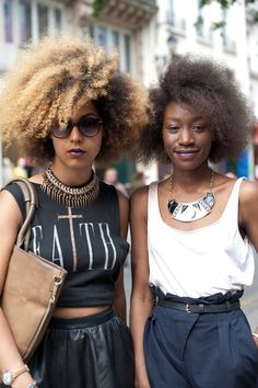 I'm exactly where the girl on the right is...the girl on the left is fab though. #blackhair #afro #naturalhair