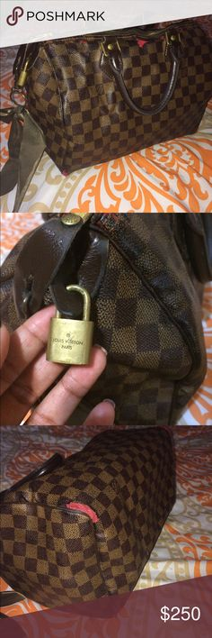 Authentic Louis Vuitton Speedy 35 Damier Canvas purchased in 2009;  Yes this bag does have damages which is very vivid in the pictures I posted on this listing.. if you suggest any further pictures in full detail please let me know and I will provide more pictures and answer any questions via email I AM ALSO ACCEPTING OFFERS SO PLEASE UTILIZE OFFER OPTION  Louis Vuitton Bags Totes