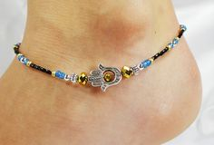 Anklet, Ankle Bracelet, Hamsa Jewelry, Blue Black Gold Crystal, Beach, Vacation, Resort, Cruise, Pool, Summer Beaded Anklet Gypsy Anklet