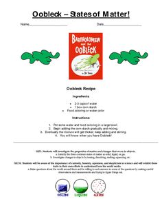 oobleck states of matter cover Primary Science, Physical Science, Teaching Science, Science For Kids, Teaching Tools, Pre K Activities, Craft Activities For Kids, Oobleck Recipe, Solutions And Mixtures