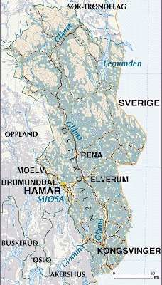 "Ancestors from Norway - Hedmark genealogy resources,    Formerly called ""Hedemarken Amt"", Hedmark fylke (county) is located in eastern Norway, along the border with Sweden. (The border between Hedmark and Sweden is 352 kilometers - 219 miles - long). To the north of Hedmark is Sør Trøndelag fylke, to the west is Oppland fylke, and to the south is Akershus fylke.       Norway's longest river, Glomma, which is 601 kilometers long - 373 miles - flows through Hedmark from north to south. A…"