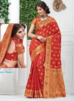 Red Tussar Silk Sarees  #Sarees #IndianSareesOnline #SilkSarees #TussarSilkSarees #SareesOnline #OnlineShopping