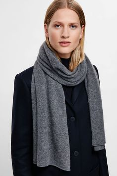 COS image 9 of Cashmere scarf in Grey