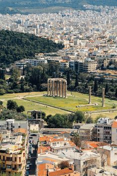 Greece Travel Inspiration - Arch of Hadrian and Temple of Olympian Zeus - View from Acropolis of Athens, Greece by autumn. Crete Greece, Santorini Greece, Athens Greece, Greece Food, Places In Greece, Greece Hotels, Greece Beaches, Greece Wallpaper, Athens Acropolis