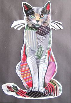 """Portraits of animals made in a technique combining drawing and collages. Award-winner """"Cat of Carouge"""" (2012) combines architectural features and animal portraits."""