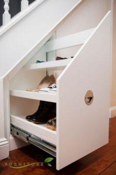 Shoe Storage Under Stairs, Under Stairs Drawers, Stair Drawers, Space Under Stairs, Staircase Storage, Under Stairs Cupboard, Shoe Storage Unit, Stair Storage, Cupboard Storage