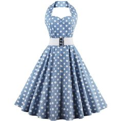 Vintage Retro Halter Sweetheart Neck Polka Dot Flare Dress ($30) ❤ liked on Polyvore featuring dresses, polka dot halter dress, blue fit-and-flare dresses, flare dress, flared dresses and vintage dresses