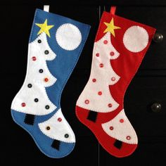 Christmas Stocking Christmas tree Holiday decor Extra Large and Standard sizes Red or Blue - Ready to ship on Etsy, $27.38 CAD
