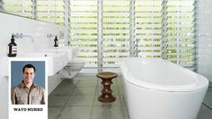 Frosted glass louver slats over transparent glass to make bathroom windows more private Bathroom Windows, Home Reno, Classic House, Clawfoot Bathtub, Bathroom Inspiration, My Dream Home, Interior Styling, Building A House, New Homes