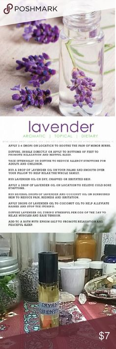 Lavender Essential Oil 100% All Natural Lavender Essential oils!  The lavender is fresh from my garden and infused with coconut oil.  (if you're allergic to coconut oil I can substitute it with Almond oil)  Roll on applicator! Relaxation Oil. Good for all skin types!   All herbs are grown in my garden, no pesticides or other chemicals are included! :)  Coconut oil is homemade from Florida Coconuts and yes, they are also home grown :D Other