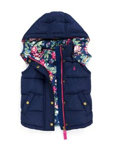 JNR AIRE Girls Padded Gilet with Detachable Hood-Joules