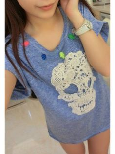 Lace Graphic Skull T-shirt