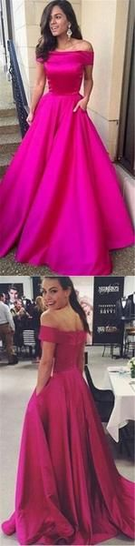 Gorgeous Off the shoulder Prom Dress, Hot Pink Long Prom Dress 2017 - Thumbnail 1