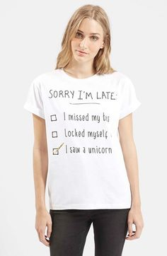 Topshop+'Sorry+I'm+Late'+Short+Sleeve+Tee+(Petite)+available+at+#Nordstrom