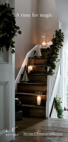 A time for magic Stairway Decorating Magic Time Christmas Living Rooms, Scandinavian Christmas, All Things Christmas, Christmas Home, Home Design, Silver Home Accessories, Stairway Decorating, Diy Home Decor Bedroom, Farmhouse Lighting