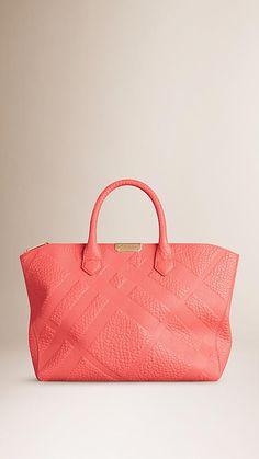 Rose pink Medium Embossed Check Leather Tote Bag - Image 1