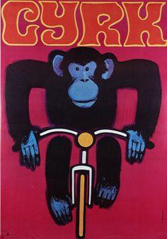 Wiktor Gorka, Monkey on Bicycle, Polish Circus Poster, 1968