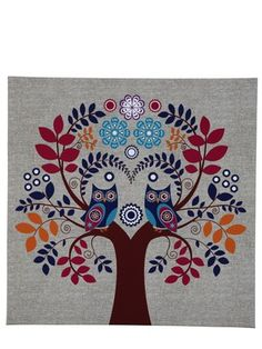 pretty colors -Owl tree canvas