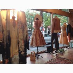 Oh hello sunshine! Nice of you to finally drop in. #vintageshop #seattlevintage #windowdisplay