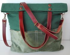 Canvas Messenger Green /Tote bag /Strap Leather  by 13sferas