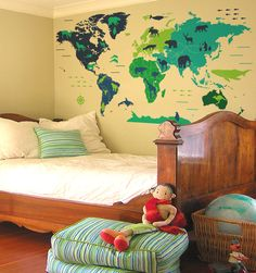 109''+Animal+outline+counties+world+map+wall+decal+by+WorldMaps,+$198.00