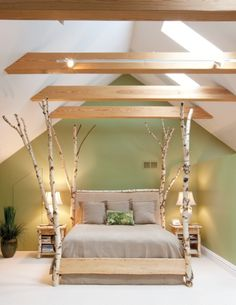 The centerpiece is a white birch tree bed handmade by Diane Ross, a custom-furniture maker from Willow Creek, Montana. #home #decor
