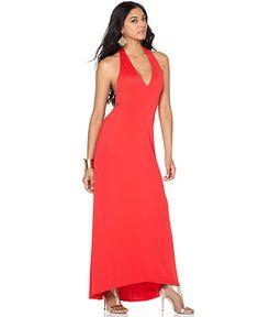 BCBGMAXAZRIA Dress, Sleeveless V Neck Halter Asymmetrical Hem Maxi