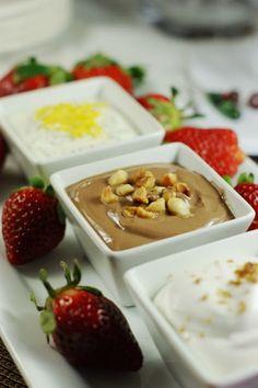 EASY entertaining! ... three dips with fresh strawberries.  Nutella Greek yogurt dip, Grand Marnier & Spiced Rum dip, and Lemon-Poppy Seed dip.  Yum!