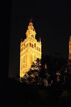 Seville Cathedral: Giralda Tower. Sevilla. Nocturno de la Giralda desde el Patio de los Naranjos.
