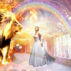 Bride of Christ in heavenly palace with Lion of Judah, rainbow and Holy Spirit Dove. Prophetic Art painting.