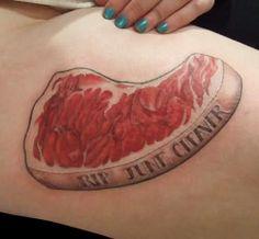 Rest in Peace June Cleaver Steak tattoo #FoodTattoo #InkedMagazine #Inked #tattoos #steak #food