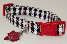 Houndstooth Black and White Print Dog Collar - Adjustable. $9.00, via Etsy.