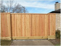 wood fence with sliding gate - Google Search