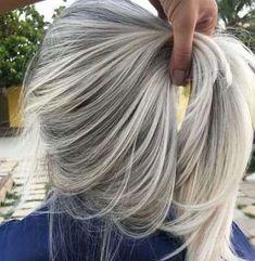 35 Trendy Hair Silver Blonde Gray Hairstyles - Women Style World Ash Gray Hair Color, Silver Blonde Hair, Grey Wig, Brown Ombre Hair, Ombre Hair Color, Hair Color Balayage, Cool Hair Color, Blonde Balayage, Dark Hair