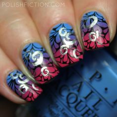 OPI Rich Girls & Po-Boys and Hey Baby gradient nails with double stamping