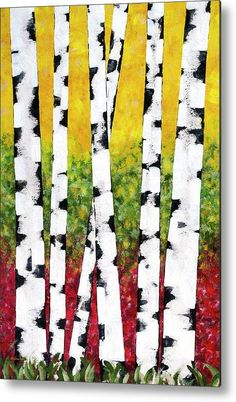 Birch Forest Trees Metal Print by Christina Rollo.  All metal prints are professionally printed, packaged, and shipped within 3 - 4 business days and delivered ready-to-hang on your wall. Choose from multiple sizes and mounting options.