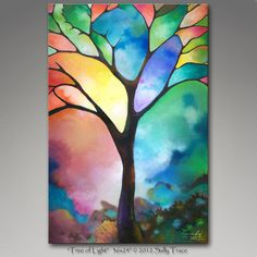 """Made-to-order commission of my painting """"Tree of Light"""" © 2011 Sally Trace"""