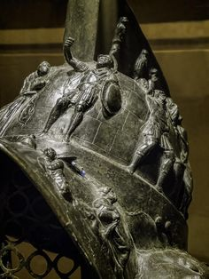 Closeup of the left side of Myrmillo-style bronze gladiator helmet with bas-relief depicting scenes from the Trojan War Herculaneum Roman Century CE Ancient Rome, Ancient Art, Gladiator Armor, Roman Gladiators, Soldier Helmet, Roman Artifacts, Arm Armor, Roman Armor, Pompeii And Herculaneum