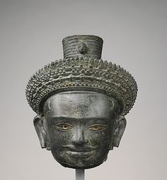 Bronze head of Avalokiteshvara, the Bodhisattva of Infinite Compassion, Angkor period, Cambodia. ca. third quarter of the 10th century