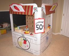 Build a Dream Playhouse Snack Shack cardboard market stall