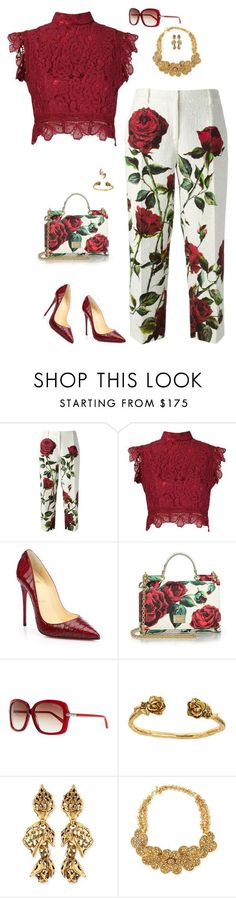 """""""Dolce and lace"""" by riquee ❤ liked on Polyvore featuring Dolce&Gabbana, Martha Medeiros, Christian Louboutin, Tom Ford, Alicia Marilyn Designs, Oscar de la Renta, Jose & Maria Barrera and Tessa Metcalfe"""