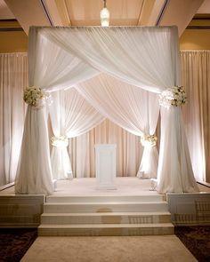 Classic #canopy floral bouquets add a wonderful touch to this wedding #altar! Nice photo via #WeddingBee Wedding Ceremony Ideas, Wedding Chuppah, Wedding Stage, Backdrop Wedding, Wedding Arches, Wedding Canopy, Wedding Ceremonies, Wedding Reception, Wedding Events
