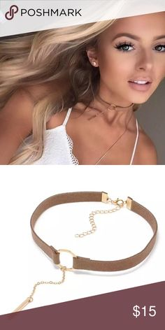 Faux suede tan dangling choker necklace Brand new with tags ✨ Quantity:1 pair ✨ size: adjustable✨ Color: black✨expect fast shipping  Any questions please leave me a comment & also check out my other listings✨ 15% off on bundles buy more  save more  Jewelry Necklaces