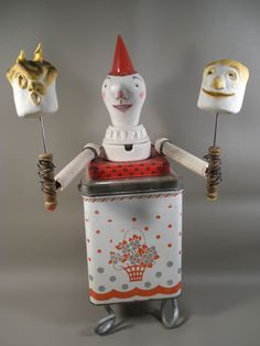 ''drama gets toasted at the comedy cook-off''. SOLD.  recycled art by leona keene sewitsky.