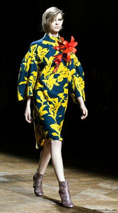 Dries van Noten F/W 2014, floral dress, booties, flower accessory / Garance Doré