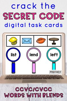 Secret Code: Words with Blends - Can you crack the Secret Code? This set of 30 digital task cards focuses on CCVC and CVCC words (initial and final blends with short vowels, like stem and jump). Add these Boom Cards to your centers or display for small groups!